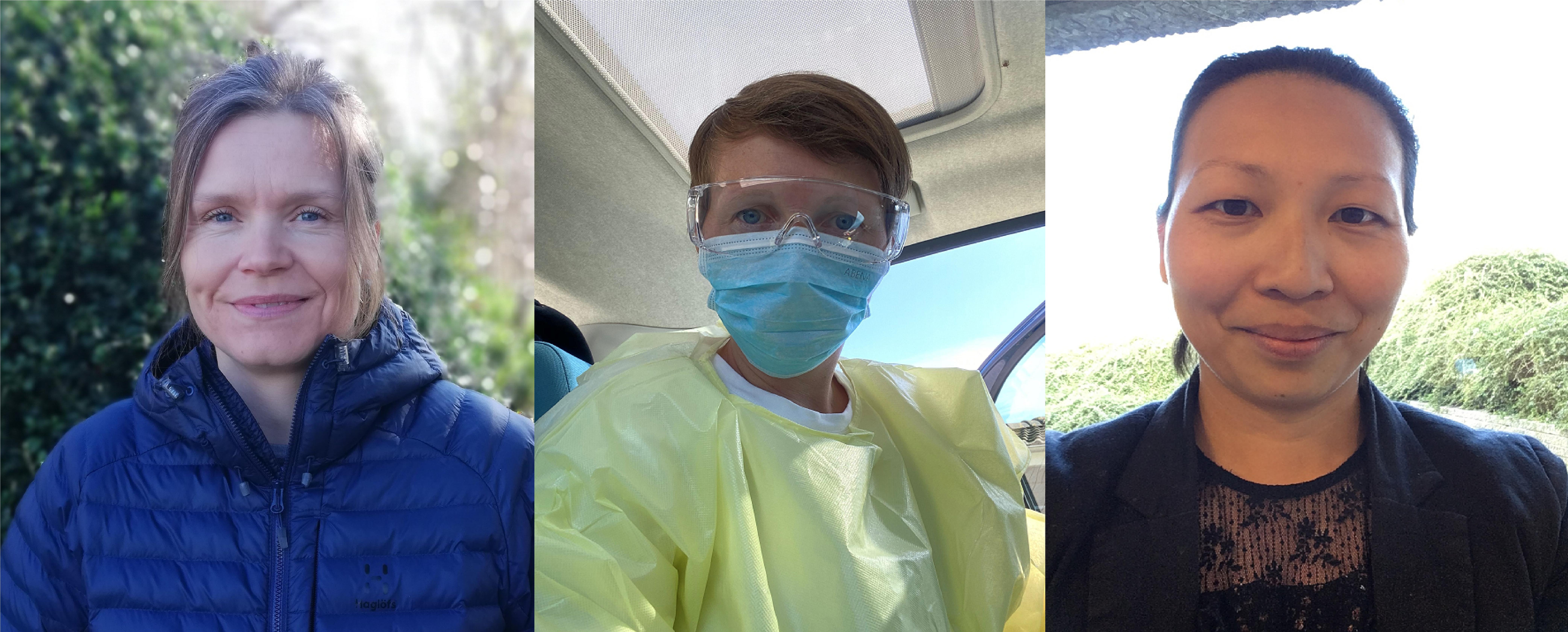 """Tre ergoterapeuter er blevet udvalgt og har sagt """"ja"""" til at bidrage til beredskabsarbejdet i en ny Corona-testenhed i Odense Kommune. Fra venstre: Anne Bystrup, Heidi Neumann og Maria Hundebøll."""