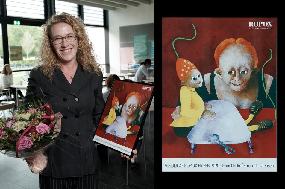 En glad Jeanette Reffstrup Christensen, der netop har modtaget den fine ROPOX-pris 2020. ROPOX har uddelt prisen siden 1989.
