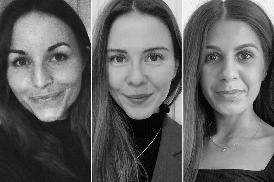 Sidsel Ørneborg, Reeti Sandhu og Maj Sundby - tidligere ergoterapeutstuderende på Københavns Professionshøjskole - har fået udgivet deres bachelorprojekt som videnskabelig artikel. Privatfotos.